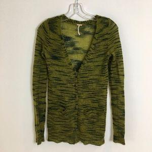 FREE PEOPLE cardigan sweater SM green